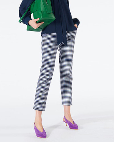 TIBI gingham suiting beatle cropped pants gingham multi