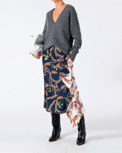 TIBI renzo scarf print asymmetrical skirt  orange/blue multi