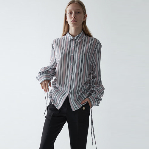 ┃HAEKIM┃ STRIPE STRING SHIRTSblue, pink