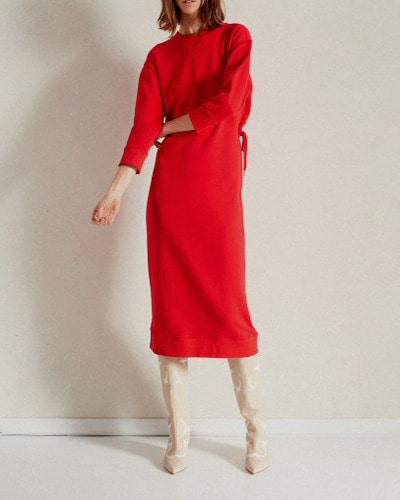 TIBI open back sweatshirt midi dress  cherry red