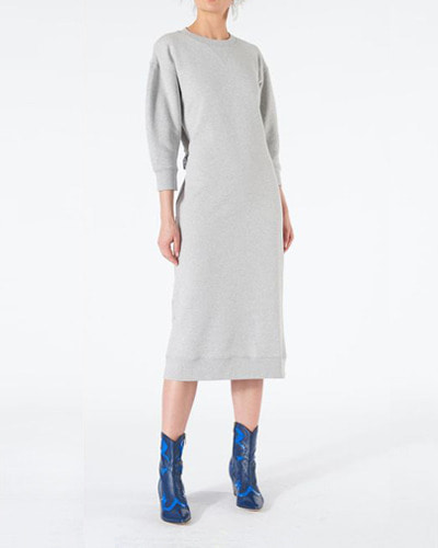 TIBI open back sweatshirt midi dress  heather grey