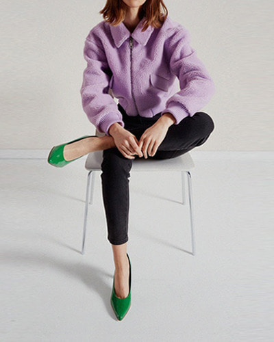 TIBI faux shearling gus cropped jacket lavender