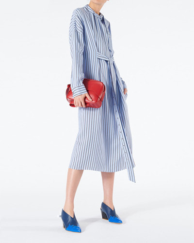 TIBI viscose stripe buckle dolman dress blue multi