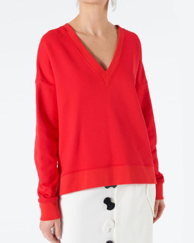 TIBI v-neck draped back sweatshirt cherry red