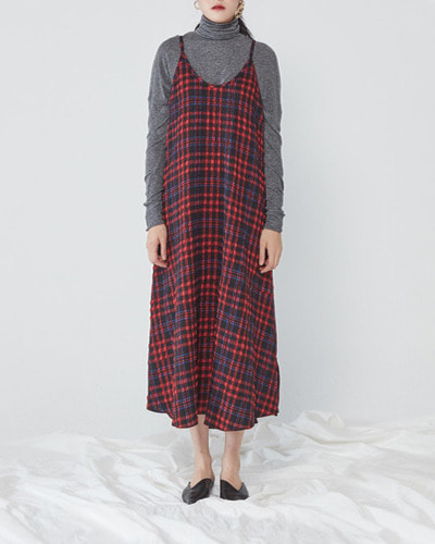 JO5 long slip dress  red tartan