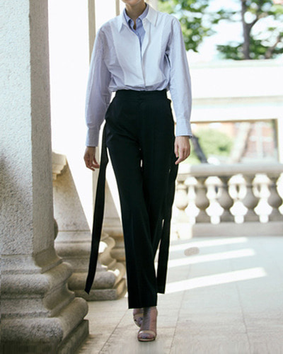 HAEKIM side ribbon pants  black