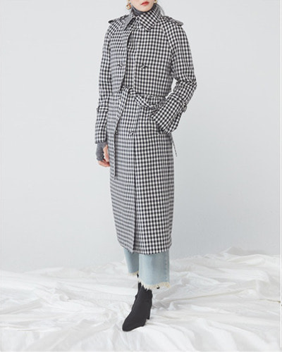 JO5 raglan trench coat gingham check