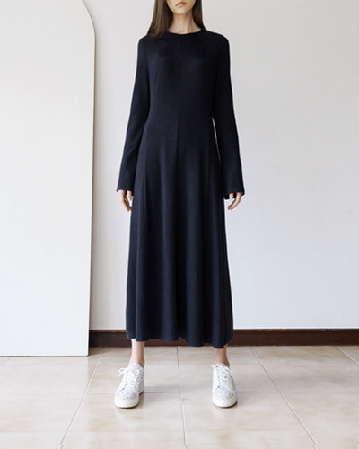 ┃MORE H.┃ 18 SPRING LONG FLARE DRESSblack, grey