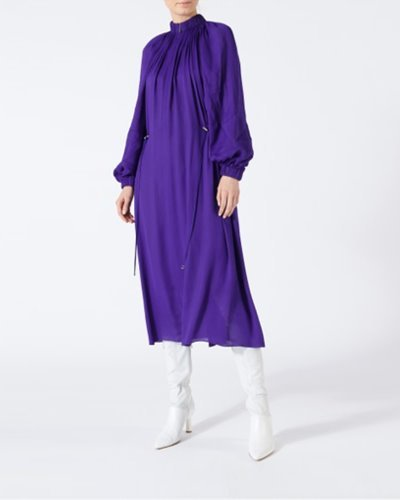 TIBI viscose georgette midi drawstring dress  purple