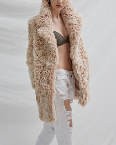 BLUSHED lamb fur coat  ivory