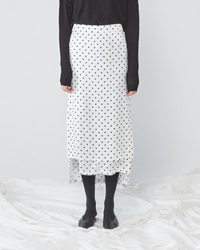 JO5 boy unbalanced long skirt polka dot white