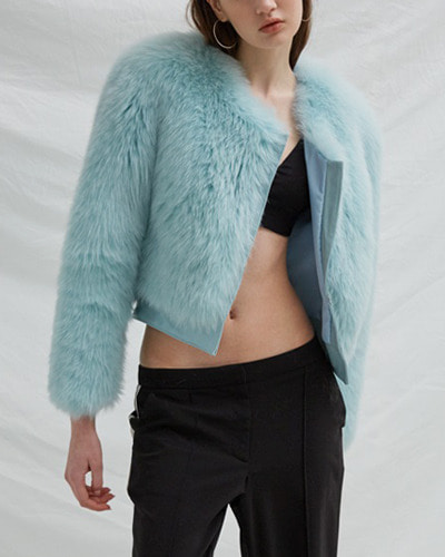 BLUSHED cropped fox fur jacket  mint blue