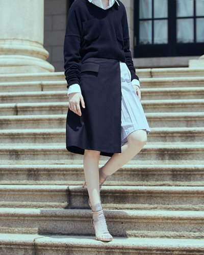 HAEKIM half pleat skirt  navy