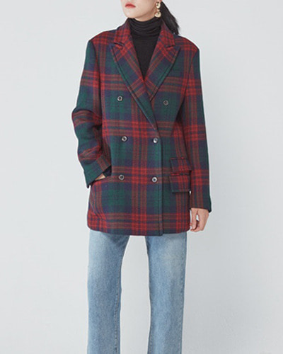 JO5 boy double coat red check